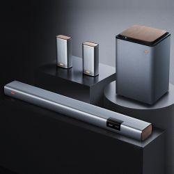 ワイヤレス Bluetooth 5.1 CH 3D ステレオバーチャルサラウンドサウンドホーム サウンドバー付きシアターシステムサブウーファリアスピーカー * 2