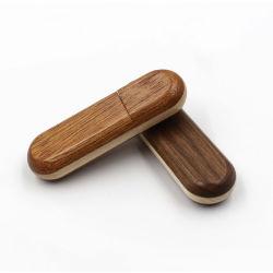 Super cadeau unique rond en bois de Bambou USB Lecteur Flash USB 2.0 avec logo personnalisé