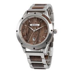 2021 Nova chegada Bewell OEM ver homens de aço inoxidável com Mens Madeira jóias de relógio de pulso de Desgaste Wach ver o logotipo de marca personalizada