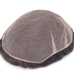 Indian Remy Hair plena rendas francesas Stock Mens Cabelos Cabelos Novos tempos de substituição