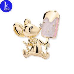 De nieuwe Broche van de Muis van het Roomijs van het ontwerp Charmante Zoete Gouden voor de Dames van Vrouwen