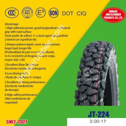 OEM de 17 pulgadas Nuevo 6pr el sesgo de la correa de nylon de caucho natural de los neumáticos de baja presión de patrón de barro, nieve Moto neumáticos de caucho del tubo /neumático (3.00-17) con punto de CCC ISO E-MARK