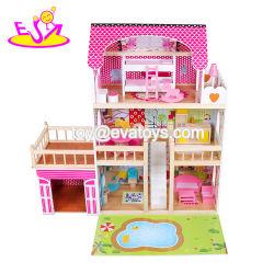 2019 Top Fashion três andares Dollhouse grande de madeira com luzes, garagem e quintal W06A333c
