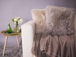 熱い販売ののどの毛皮の長いプラシ天の枕/擬似毛皮は緩和する45X45cm (YFC001)を