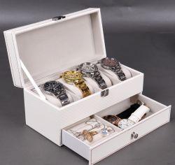 Kohlenstoff-Faser 4-Bit Doppelt-Schicht Uhr-Schmucksache-Kasten/Spitzen-/Speicherbildschirmanzeige-weißer Kasten