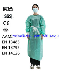 Cappotto a gettare non tessuto a gettare non tessuto di vendita caldo del laboratorio del vestito materiale pp dell'abito del PE della fabbrica dello SGS di iso del Ce della FDA e dell'abito PP/PE/SMS di isolamento