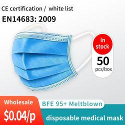 Il Ce bianco della lista della Cina ha approvato la maschera di protezione medica a gettare del PPE FFP2 Bfe99 mascherina medica a gettare a gettare della mascherina protettiva di Earloop delle 3 pieghe per l'ospedale