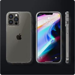 iPhone 13용으로 설계된 Spigen Ultra Hybrid PRO Max 케이스(2021) - Crystal Clear Transparent 투명 커버 케이스(iPhone 13용), 충격 방지 보호 전화 케이스