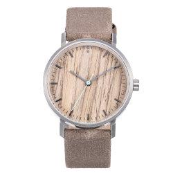 Horloge van het Gezicht van de Korrel van Retro Mensen van de Pols van het roestvrij staal het Eenvoudige Houten
