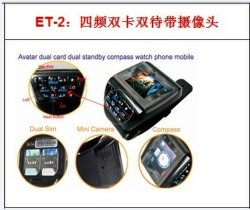 De dubbele Dubbele Reserve Mobiele Telefoon van het Horloge SIM (et-2)