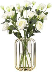 Golden Wrought Iron Glass Vase, 심플하고 현대적인 투명 꽃 꽃병, 거실의 테이블 상판 장식 등에 이상적입니다