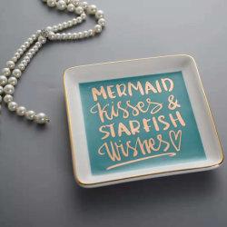 Quadratisches geformtes China gedrucktes keramisches Schmucksache-Ring-Teller-Tellersegment
