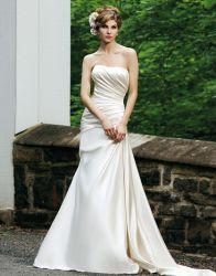 Una línea vestido de novia satén marfil boca vestido de novia