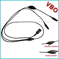 Y la formación de desconexión rápida Cable divisor de cable con control de volumen y silencio para Call Center