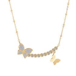 Lady Fashion Costume Jewelry 18k Goud Roestvrij Stalen Vlinder Ketting
