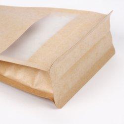 Levántate de la ventana transparente de sellado de bolsas de papel Kraft Food con ventana de embalaje Bolsa de merienda con cierre de cremallera