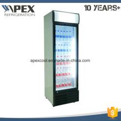 Una sola puerta del refrigerador de la pantalla bebida vertical refrigerador con enfriamiento directo