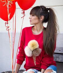 목 긴 소매 스웨터 (80028)의 둘레에 인쇄되는 2016명의 형식 디자인 소녀