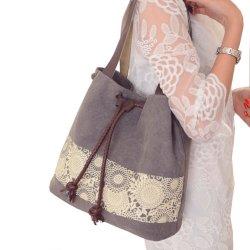 Signora Cotton di stile di tendenza/retro sacchetto di Tote spalla della tela di canapa/sacchetto a doppio uso delle borse