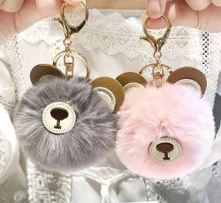 Kaninchen-Pelz-Kugel-Plüsch-Pelz-Bären-SchlüsselkettePOM POM Keychain Pompom-Auto-Beutel Keychain