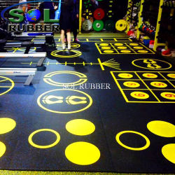 High Special Impact Pattern Logo Gym Rubber Flooring Chechmate