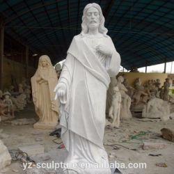 La taille de la vie figure de pierre Statue sculpture en marbre blanc Jésus religieux