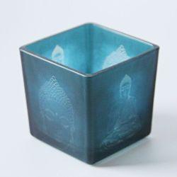 Buda chino bendición cuadrados portavelas de vidrio