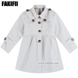 China As crianças de moda de Fábrica do vestuário de algodão de vestuário infantil menina Windbreaker Offwhite vestido de Inverno