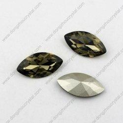 Schalter Elements Crystal Stones Foil Back Navette Shape Black Diamond 3017 9*18mm