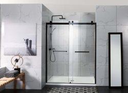 North American élégant noir mat Inline coulissante double salle de bain douche