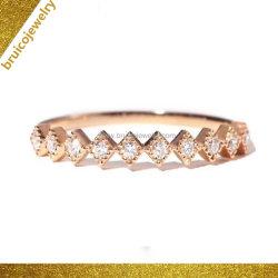 Élégant Mode bijoux 925 Silver Rose bague plaqué or Bijoux en diamants