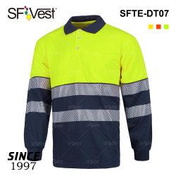 2020 due camicia di polo di riflessione del codice categoria 3 di tono della maglietta di Segemented di scambio di calore di forza inferiore nera del nastro ciao