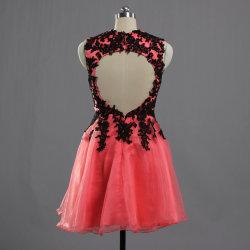 E608 Vintage Organza Coral Keyhole tiras de encaje negro corto vestidos de regreso a casa