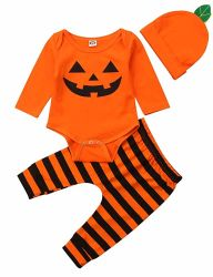 O Dia das Bruxas trajes abóbora menina bebê nascido Romper Top roupas+camisetas+ Hat 3PC Outfit Definido