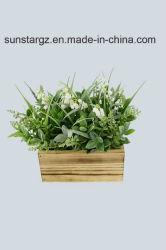 Sage lirio del valle dejar flor artificial con maceta de madera para la decoración del hogar (51111)