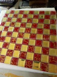 Combinação de vermelho Gold Diamond Mosaico Mosaico de espelho de vidro (HD075)