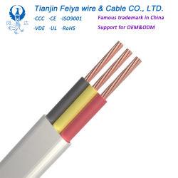 フラットケーブルPVCケーブル、構築ワイヤー双生児およびアース線の接続ワイヤー、適用範囲が広い銅ケーブルの電線およびケーブル電気ワイヤーTPSケーブル
