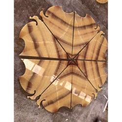 마루 & 허영을%s 자연적인 돌 나무로 되는 노란 오닉스 대리석