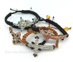Commerce de gros de la mode Handwoven Bracelet Bracelet charmant Croix