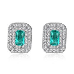 Mujer de color verde esmeralda de joyería CZ Crystal lujoso parte pendientes