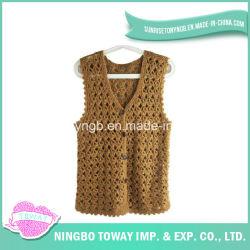 Lane di tessitura del Crochet del maglione di modo della mano che lavorano a maglia Vest-03