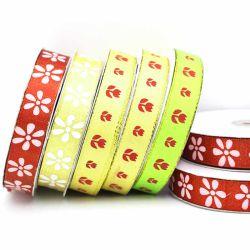 "2cm/3/4"" Printd rouge/blanc Fleur rouge/vert/ruban satin jaune imprimé Ribbon-Dy Grosgrain10002"
