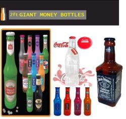 Gran elegante cuadro Moneyboxes botellas dinero Monedas Notas Tin
