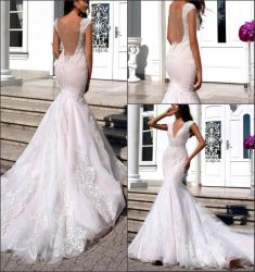 Trajes de novia de encaje mangas Cap Blush Mermaid vestido de novia 2021 Ya108