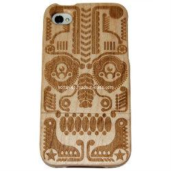 El logotipo de láser en caso de madera para el iPhone 4