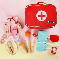 Giocattolo di legno educativo per l'insieme di legno della casella della medicina del kit medico del dottore Role Play Pretend Toys dei bambini