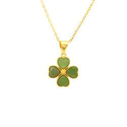 2020 de Nieuwe Juwelen van het Gouden Plateren van de Halsband van de Juwelen van de Jade van het Ontwerp Smaragdgroene Hangende