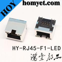 ネットワーク製品(HY-RJ45-F1-LED)のためのLEDライトが付いているRJ45 Connector/RJ45 PCBのコネクター