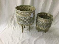 Cuerda trenzada de bambú y de la ronda de la Cesta de flores o macetas.