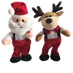 Hotselling cantar e dançar o Natal Santa & Renas Peluche